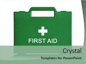 Colorful PPT theme enhanced with green first aid kit box backdrop and a seafoam green colored foreground.