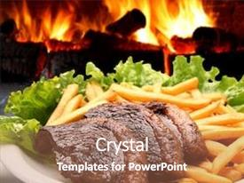 PPT layouts featuring green flame - oven steak background and a coral colored foreground