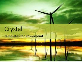 Beautiful slide deck featuring green planet - ecology energy inventions backdrop and a yellow colored foreground