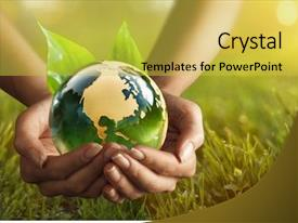 Audience pleasing slides consisting of green planet in your hands backdrop and a yellow colored foreground