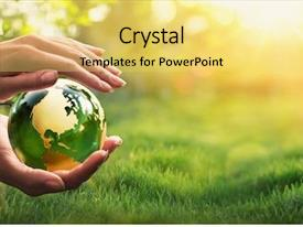 Audience pleasing presentation design consisting of green planet in your hands backdrop and a yellow colored foreground