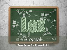 Amazing PPT theme having green text lex on school backdrop and a gray colored foreground