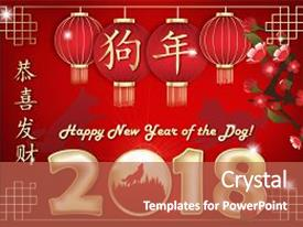 colorful ppt theme enhanced with greeting card 2018 for the chinese new year text translation congratulations
