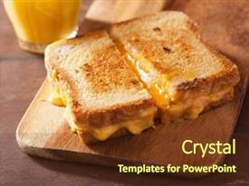 Presentation design consisting of grilled cheese sandwich for breakfast background and a tawny brown colored foreground.