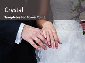 PPT theme with groom next to wedding background and a dark gray colored foreground.
