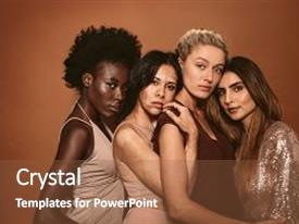 Slide deck consisting of group of diverse women standing together against brown background multi ethnic females looking at camera in studio background and a  colored foreground.