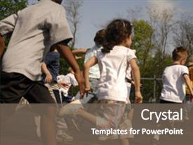Audience pleasing slide set consisting of group of elementary children running backdrop and a gray colored foreground.