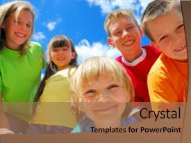 Presentation theme with group of five happy kids background and a coral colored foreground.