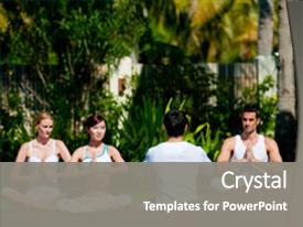 Presentation design with group of friends practicing yoga background and a  colored foreground.