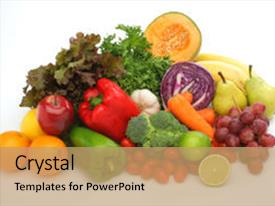 Beautiful slides featuring group of fruits and vegetables backdrop and a coral colored foreground.