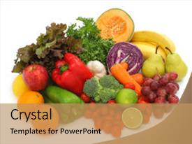 PPT theme enhanced with group of fruits and vegetables background and a coral colored foreground.