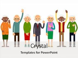 300 elderly cartoon powerpoint templates w elderly cartoon themed ppt theme featuring group of gesticulating elderly people background and a light gray colored foreground toneelgroepblik Choice Image