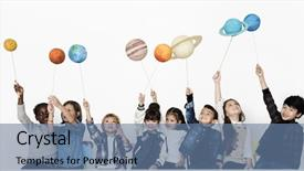 Colorful PPT layouts enhanced with group of kids holding planet backdrop and a ocean colored foreground