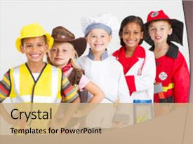 PPT theme consisting of group of kids in uniforms background and a coral colored foreground.