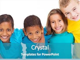 Amazing slide deck having group of multiracial kids portrait backdrop and a teal colored foreground