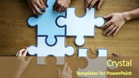 PPT theme with group of people holding puzzle background and a tawny brown colored foreground