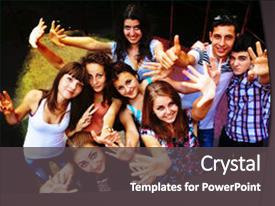 Cool new PPT layouts with group of young people dancing backdrop and a dark gray colored foreground.