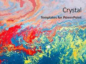 Colorful PPT theme enhanced with grunge background fragment of art backdrop and a light gray colored foreground.
