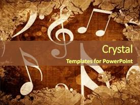 Beautiful presentation theme featuring grunge vintage music notes backdrop and a tawny brown colored foreground.
