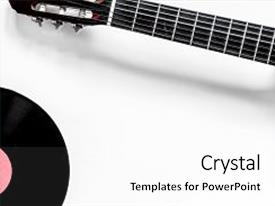 Amazing presentation theme having guitar with vinyl record in music studio for dj or musician work on white desk background top view mock-up backdrop and a white colored foreground.