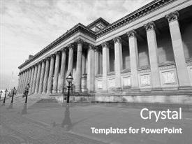 Beautiful PPT theme featuring hall concert halls and law backdrop and a gray colored foreground