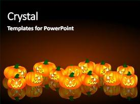 powerpoint template a number of halloween pumpkin figures and