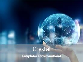 Beautiful slide deck featuring hand holding polygonal globe on bright city background media and innovation concept 3d rendering backdrop and a gray colored foreground.