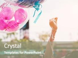Presentation design enhanced with hand holding up rope of greeting balloon for special event or birthday party happiness and celebration party concept friendship congratulation and happy people theme graduated event theme background and a gray colored foreground.