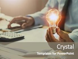 Presentation theme featuring organization - hand man accountant holding light background and a gray colored foreground