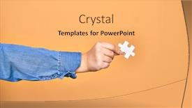 Presentation theme enhanced with hand-of-caucasian-young-woman background and a light gray colored foreground