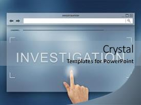 Presentation theme having hand press on investigation button background and a light blue colored foreground