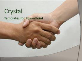 Slide deck featuring hand shake background and a soft green colored foreground.