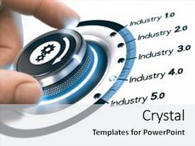 Theme featuring hand turning a knob with gears icon over white background concept of industrial revolutions steps and industry 4 0 composite image between a photography and a 3d background background and a white colored foreground.