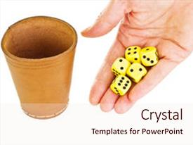 Colorful slides enhanced with hand with some dice isolated on white background backdrop and a light gray colored foreground.