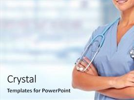 Presentation theme consisting of hands of medical doctor woman background and a light gray colored foreground