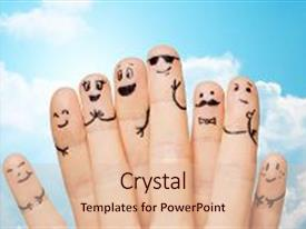 Slide deck with hands showing fingers with smiley background and a  colored foreground.