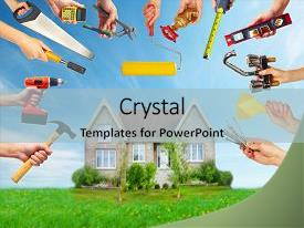 Cool new slide deck with hands with construction tools house backdrop and a light blue colored foreground