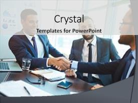 Cool new slide deck with happy businessmen handshaking after negotiation backdrop and a light gray colored foreground.