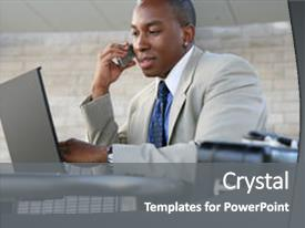 Presentation design with handsome business man working background and a gray colored foreground.