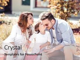Presentation theme having happiness and harmony in family life happy family concept happy family resting together in the city family having fun outdoor background and a light gray colored foreground.