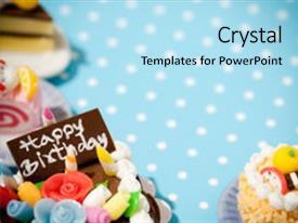 Colorful theme enhanced with happy birthday cakes celebration collection backdrop and a light blue colored foreground.