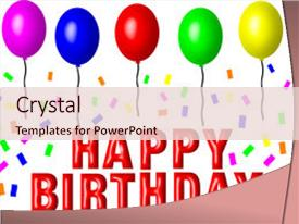 PPT theme consisting of happy birthday sign with balloons background and a lemonade colored foreground.