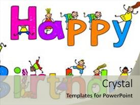 PPT theme having happy birthday text message background and a light gray colored foreground.