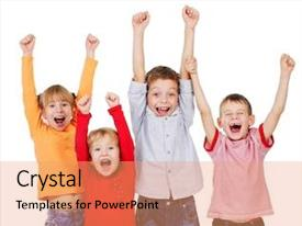 Colorful presentation theme enhanced with happy children with their hands backdrop and a coral colored foreground