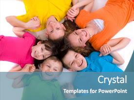 Colorful PPT layouts enhanced with happy children backdrop and a teal colored foreground.