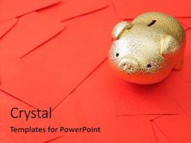 colorful presentation theme enhanced with happy chinese new year golden piggy bank with red envelope