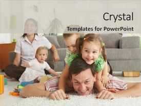 Presentation theme with happy family having fun background and a light gray colored foreground.