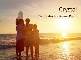 PPT theme with happy family watching the sunset background and a  colored foreground.