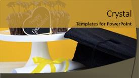 Slide deck enhanced with happy graduation day party chocolate background and a gold colored foreground.
