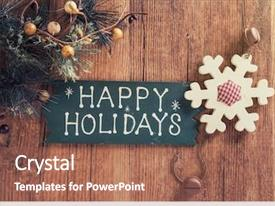 PPT layouts with happy holiday written on wooden background and a coral colored foreground